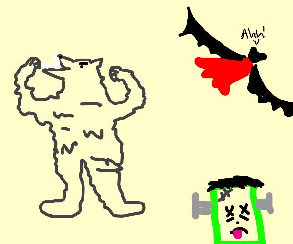 werewolf won against Frankenstein and vampire