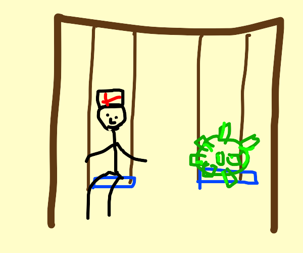 doctor and covid swinging on swings together