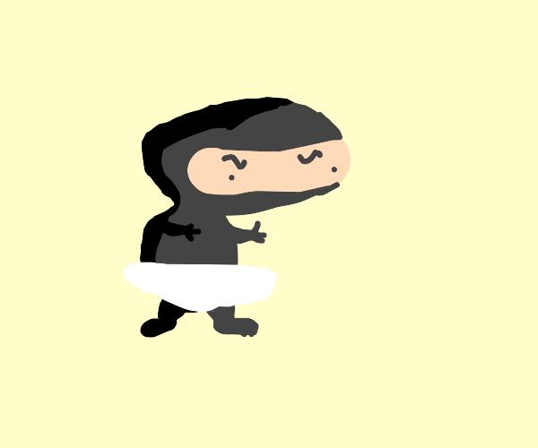 Ninja wearing a diaper