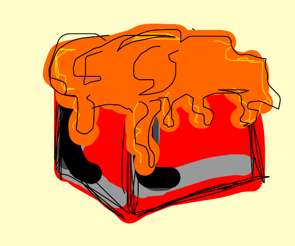 red block in cheese sauce