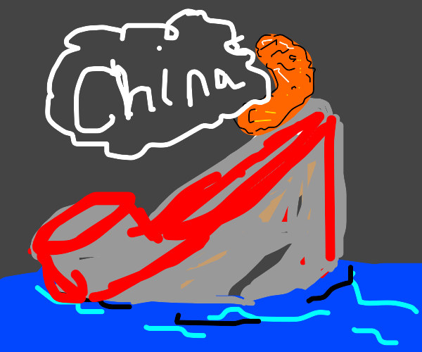 Trump riding the titanic well screaming china