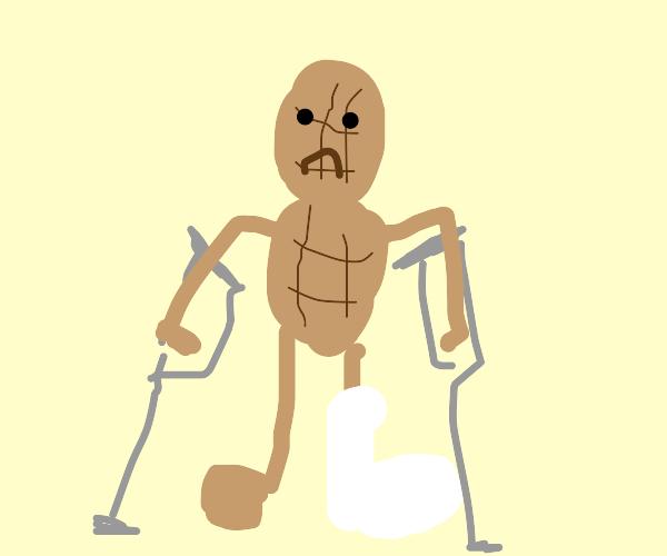 A peanut with a broken leg