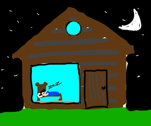 Sleeping in a lone cabin