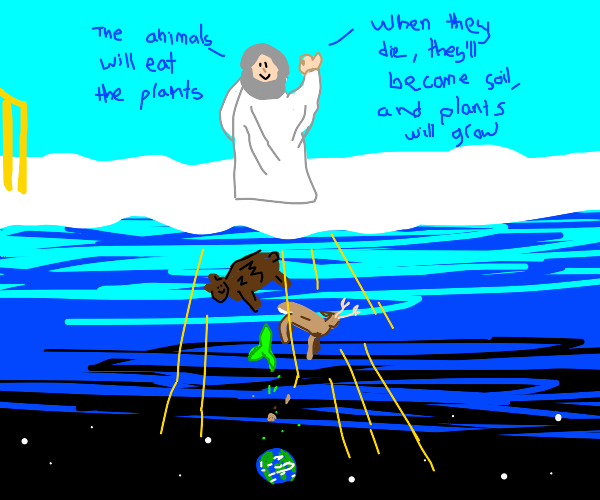 God inventing the circle of life