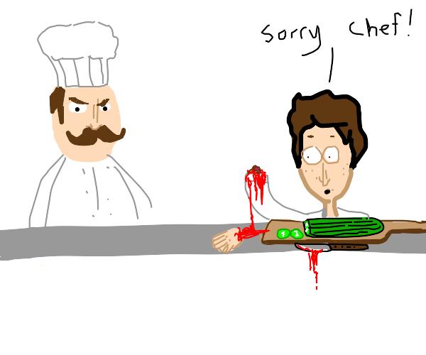Apprentice chef cuts off his hand!Sorry Chef!