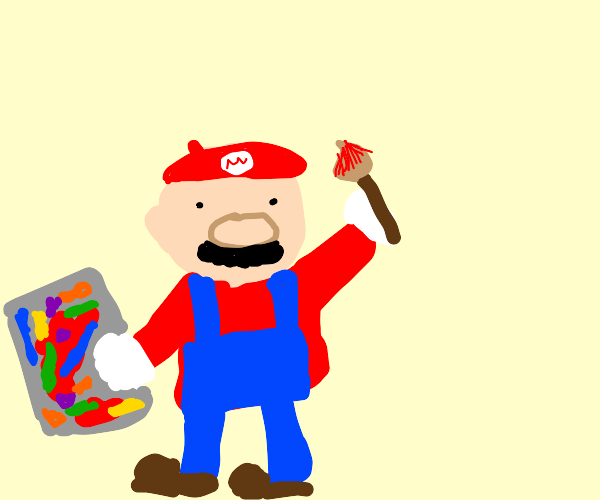 Mario grew up to be a painter!
