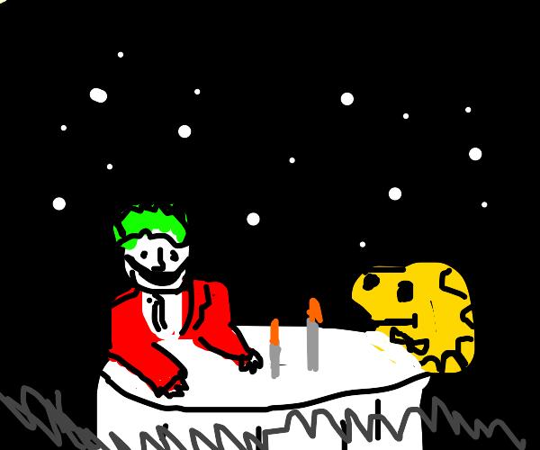 Joker and Woodstock on a dinner date