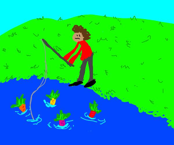 Man Fishing Colourful Carrots