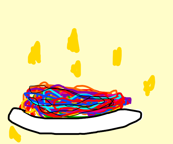Magical plate of rainbow spaget.