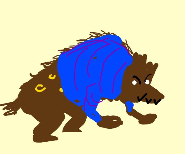 Hyena wearing a Coat