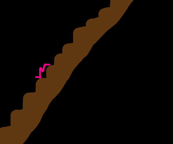 worm goes up wooden stairs in the dark