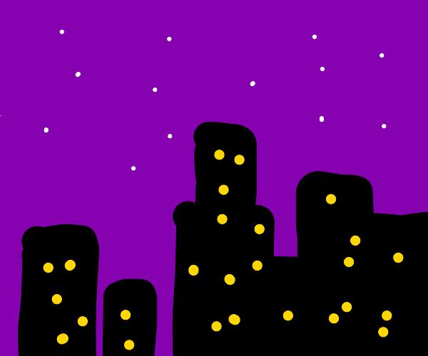 A purple city night sky