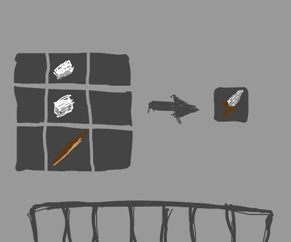 Crafting a weapon on minecraft