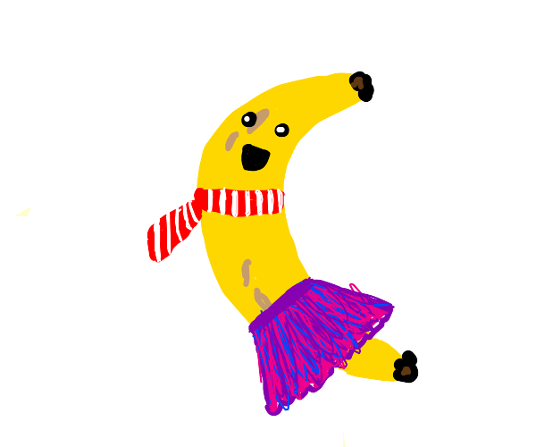 Banana wearing a skirt and scarf
