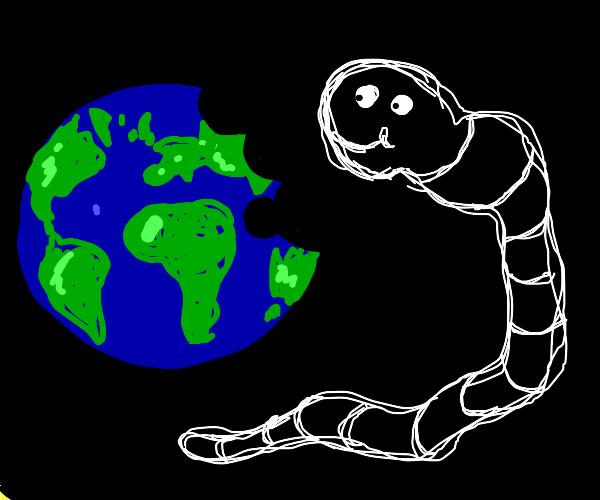 Worm eating the earth