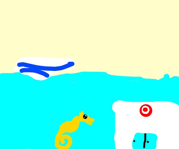 Seahorse goes to underwater Target store