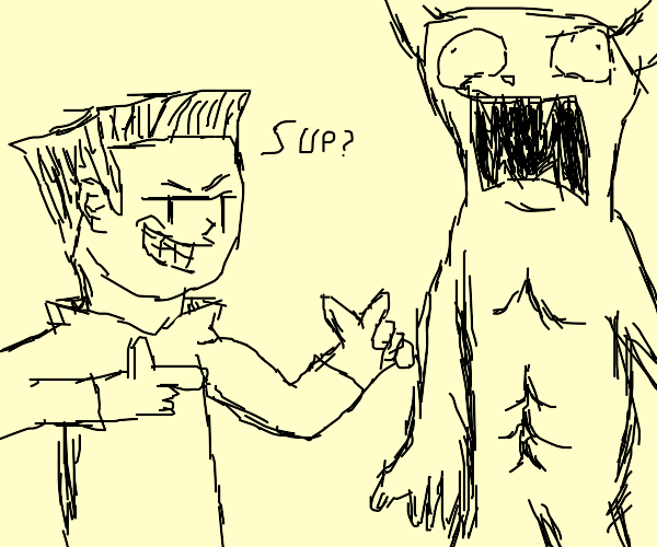 man talkin to his monster bud