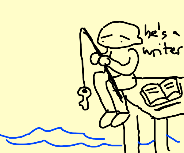 Writer fishing with a Key