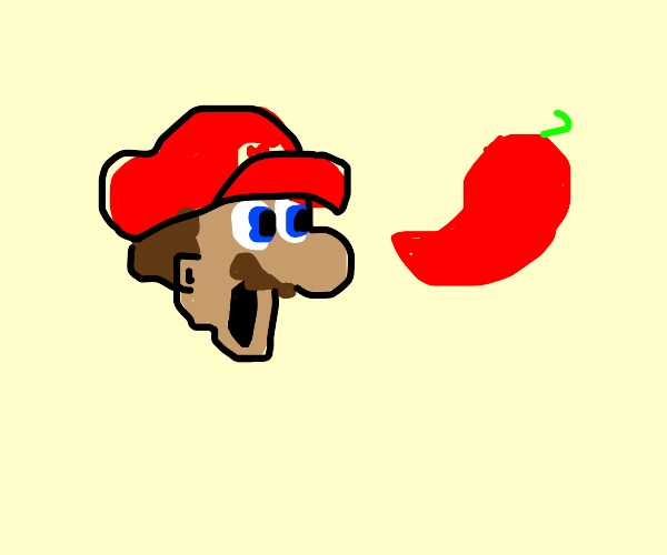 mario is impressed by a chile pepper