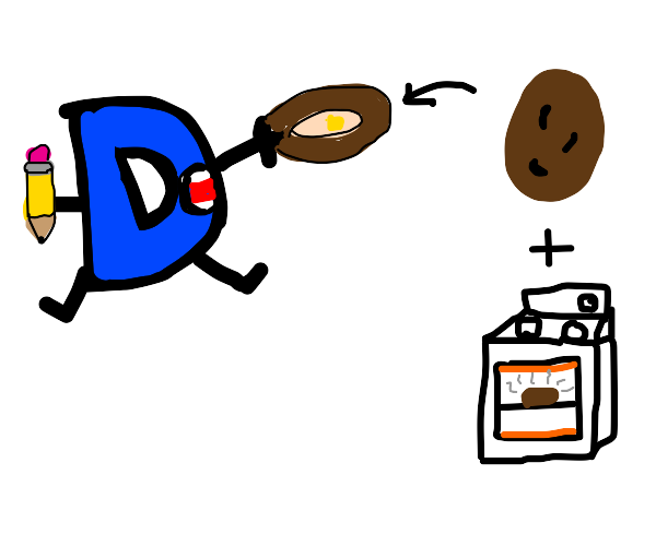 drawception eats a baked potato