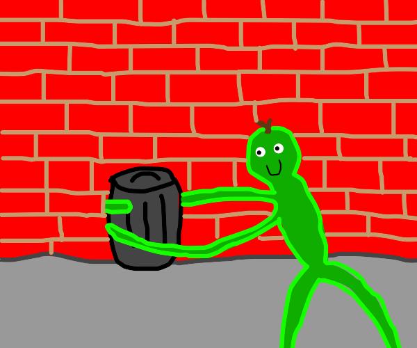 Elastic green person hugging a garbage bin