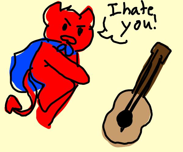Demon superhero tells guitar he hates it