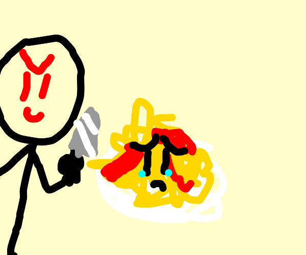 Man slices bleeding pasta