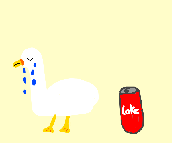 Crying goose by a can