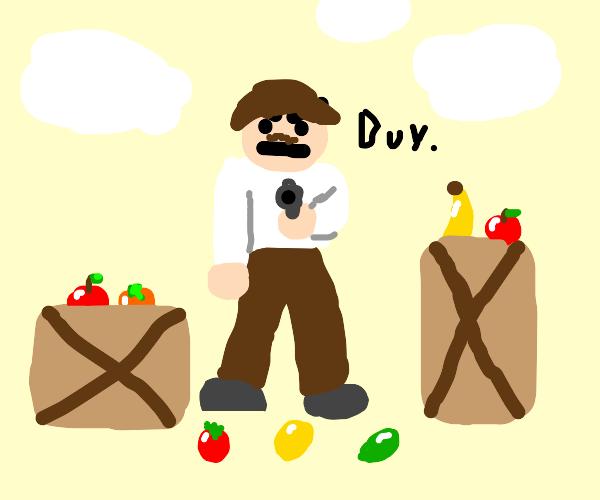 aggressive fruit salesman