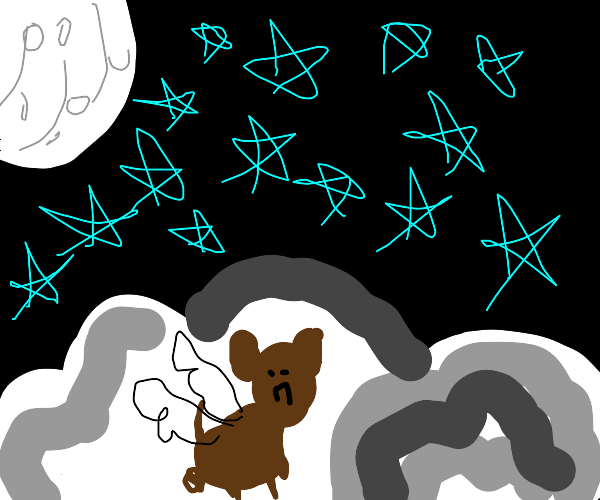 Sad lil bear with wings on night clouds