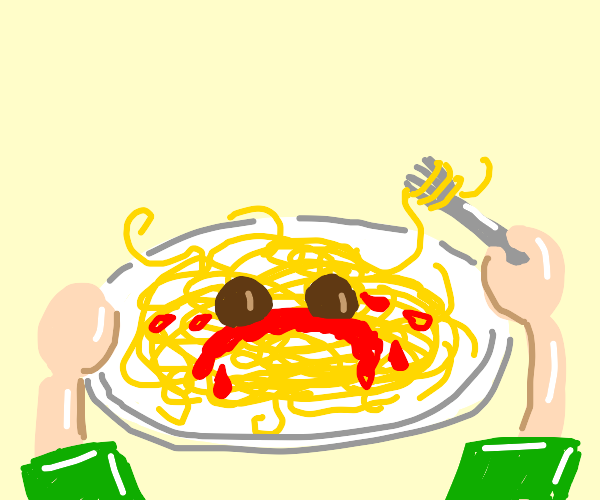 Human ready to eat a very sad spaghetti