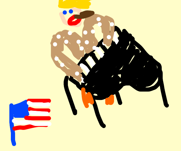 Elton John w/ Trump wig smoking cigar US flag