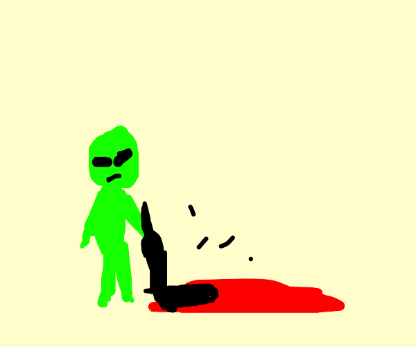 Alien casually vacuuming up some blood