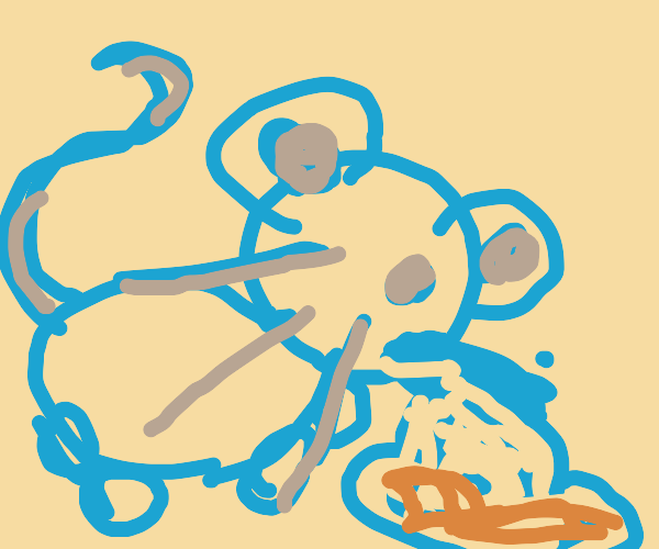 Mouse eating pasta