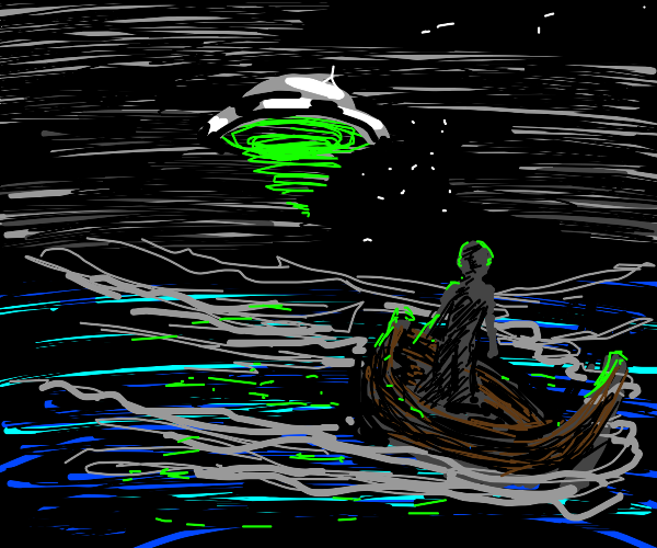 Person in a boat amazed upon seeing a UFO