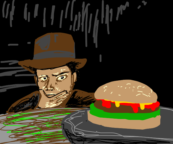 Indiana Jones carefully removes burger