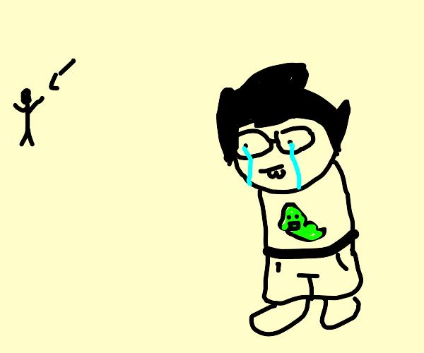 John Egbert crying at a stalker