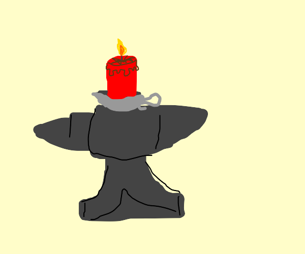 candle on an anvil
