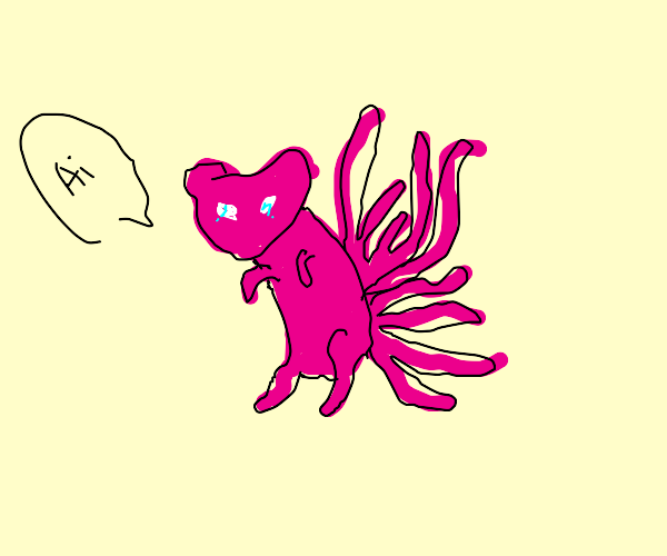 Mew with 9 tails waving hello