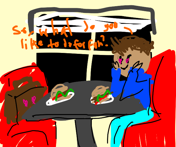 naked man on a burger date with a briefcase