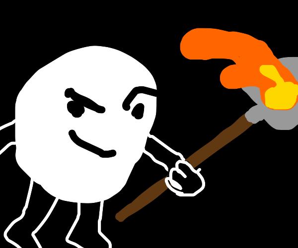 A Snowball digging into Lava