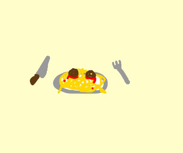 Sad spaghetti about to be eaten