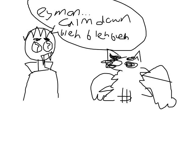 Mad werewolf looks at vampire