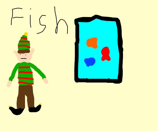 Christmas elf at museum/zoo aquarium