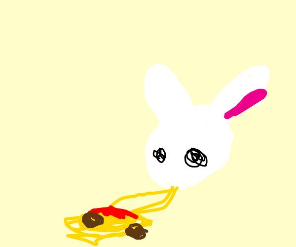 Rabbits slurp spaghetti