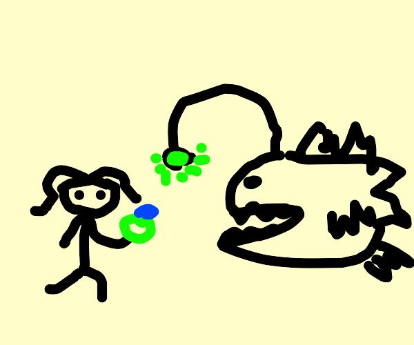 girl proposes to anglerfish