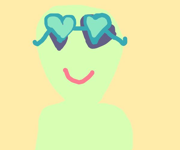 Alien wearing heart sunglasses