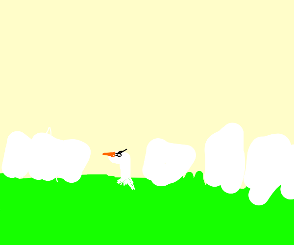 Duck sinking into a Lawn