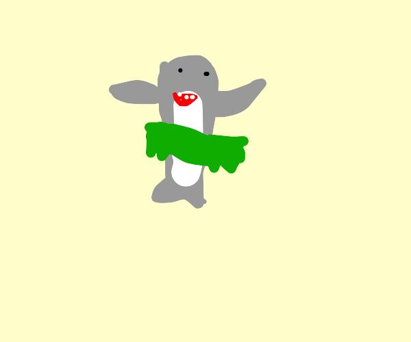 shark disguised as hawaiian dancer