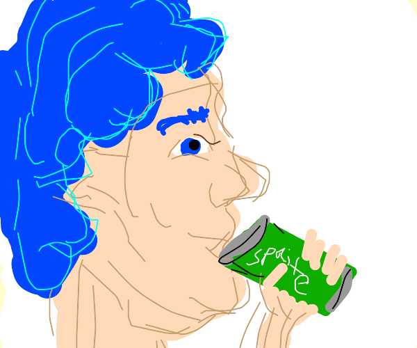 Blue haired person drinking a can of Sprite